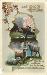 A HAPPY CHRISTMAS  blossom tree, sheep below