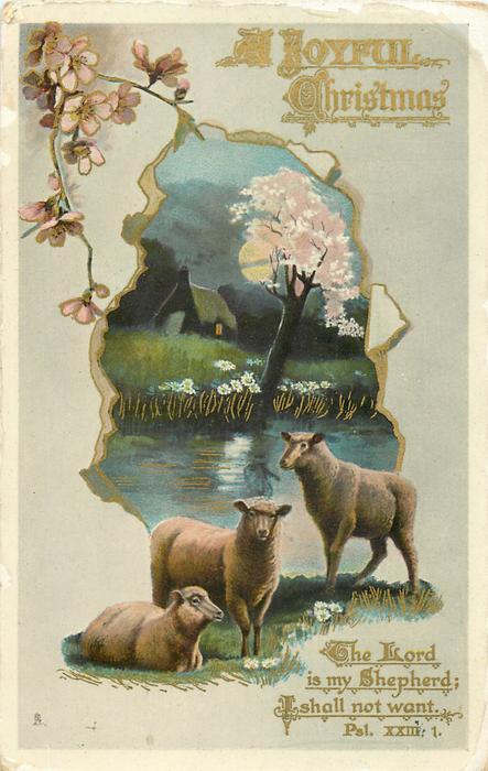 A JOYFUL CHRISTMAS  blossom tree, sheep below