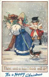 FOR A HAPPY CHRISTMAS  girl, dog, boy & coachman  carry parcels