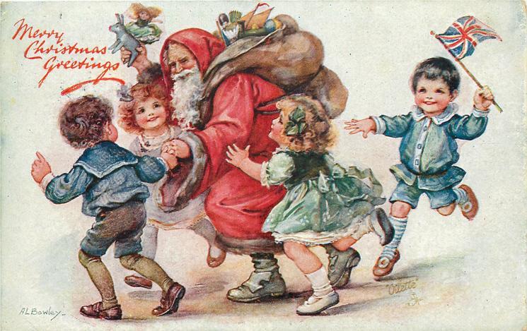 MERRY CHRISTMAS GREETINGS  Santa walking left escorted by children