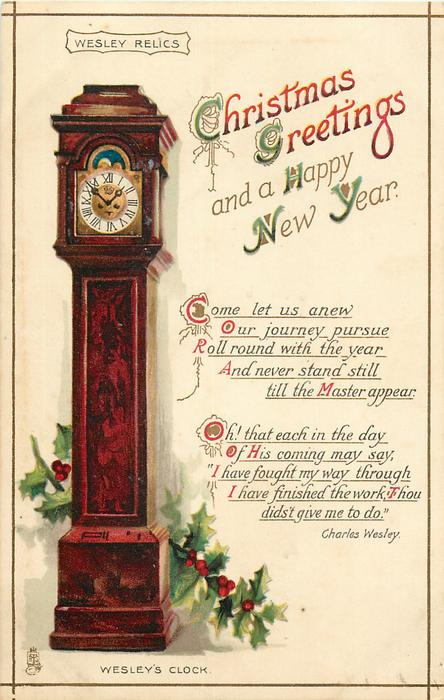 CHRISTMAS GREETINGS AND A HAPPY NEW YEAR clock
