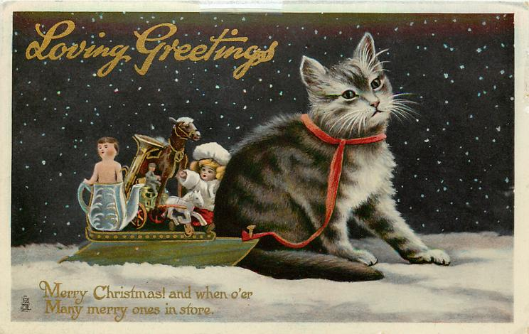 LOVING GREETINGS  kitten & sled full of toys