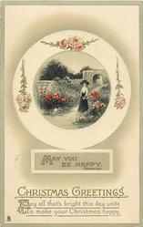 MAY YOU BE HAPPY quote BROWNING  woman in garden facing front, roses in surround
