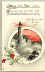 CHRISTMAS GREETINGS  lighthouse, sea, gulls, holly