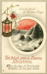 TO WISH YOU A HAPPY CHRISTMAS  rocks, sea, lantern & holly