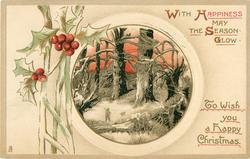 WITH HAPPINESS MAY THE SEASON GLOW  man & dog, big trees red sky, holly left