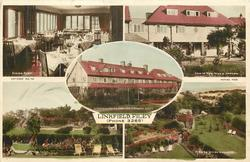 LINKFIELD, FILEY (PHONE 3265) 5 insets DINING ROOM/VIEW OF NEW WIN & GARDEN/LINKFIELD HOTEL FROM THE CROQUET LAWN/VIEW FROM DINING ROOM/VIEW OF HOTEL GARDENS