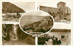 5 insets CARNAZE AND FILEY BRIGG/ST. OSWALDS 12TH CENTURY CHURCH/SOUTH BEACH AND PROMENADE/THE RAVINE/THE NORTH BEACH