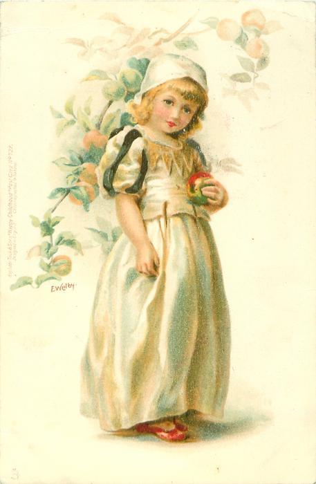 girl in white cap and cream dress, holding apple