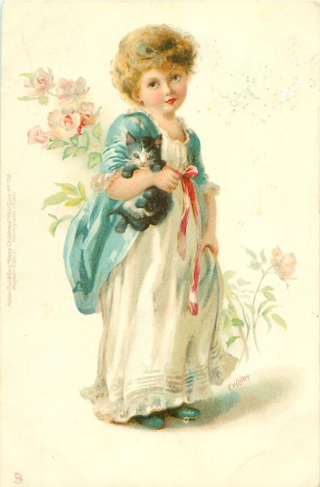 girl in white dress, blue shawl, carrying kitten