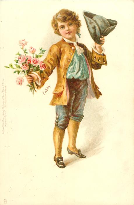 boy in brown/blue outfit, tricorn hat, pink roses