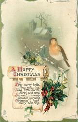 A HAPPY CHRISTMAS  robin, church behind