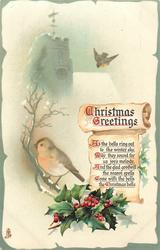 CHRISTMAS GREETINGS  two robins & holly, snowy church
