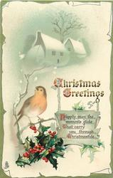 CHRISTMAS GREETINGS  robin & holly, snowy cottages behind
