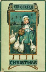 MERRY CHRISTMAS  Dutch girl walks front confronted by five geese