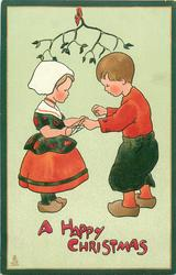 A HAPPY CHRISTMAS  Dutch boy & girl play cat's cradle under mistletoe