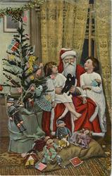 CHRISTMAS GREETINGS  tree left, Santa seated, two girls, many toys, U.S. flags