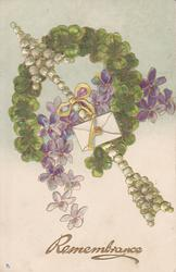 REMEMBRANCE  green horseshoe of clover & violets with white arrow through center
