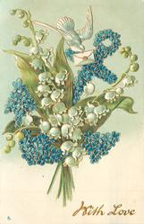 WITH LOVE  spray of lilies-of-the-valley overlaying anchor of blue flowers, dove & letter