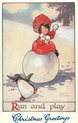 CHRISTMAS GREETINGS (in blue at base)  girl sits on large snowball & snowballs penguin
