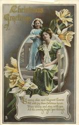 CHRISTMAS GREETINGS  daughter stands beside mother on seat, daffodils