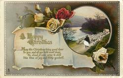 A HAPPY CHRISTMAS  roses, sheep & shepherd