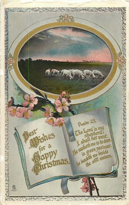 BEST WISHES FOR A HAPPY CHRISTMAS  sheep & blossom