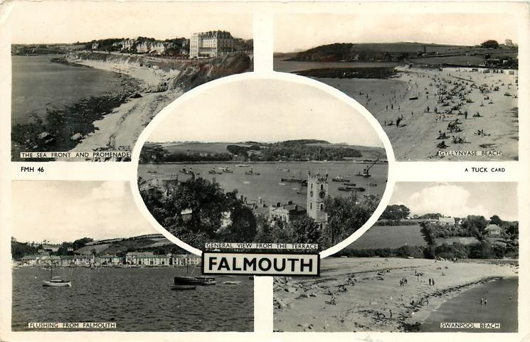5 insets  THE SEA FRONT AND PROMENADE/GYLLYNGVASE BEACH/GENERAL VIEW FROM THE TERRACE/FLUSHING FROM FALMOUTH/SWANPOOL BEACH
