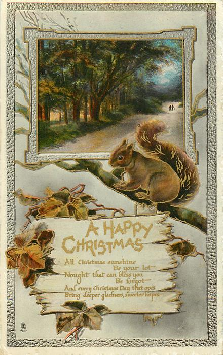 A HAPPY CHRISTMAS  squirrel, woods & road