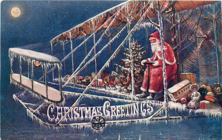 CHRISTMAS GREETINGS  blue background, Santa drives plane left, golly