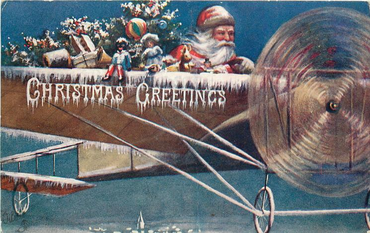 CHRISTMAS GREETINGS  blue background, Santa drives plane right, golly