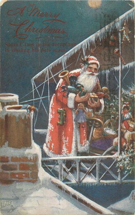 A MERRY CHRISTMAS or CHRISTMAS GREETINGS  blue background, Santa stands in plane with toys & golly, two chimneys left
