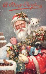 A MERRY CHRISTMAS or A MERRY CHRISTMAS TO YOU  Santa with many toys, Chinese doll  & golly, toy dog, puts toys down chimney