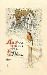 ALL GOOD WISHES FOR A HAPPY CHRISTMAS  robin on gate post, houses behind