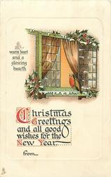 CHRISTMAS GREETINGS AND ALL GOOD WISHES FOR THE NEW YEAR  robin perched on sill of lighted window