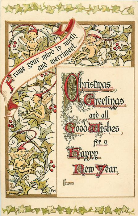 CHRISTMAS GREETINGS AND ALL GOOD WISHES FOR A HAPPY NEW YEAR  pixies on holly