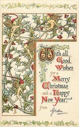 WITH ALL GOOD WISHES FOR A MERRY CHRISTMAS AND A HAPPY NEW YEAR  pixies on holly