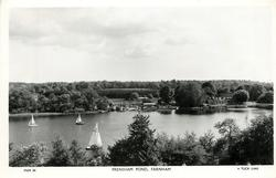 FRENSHAM POND three sail boats on left, boat house and building on right