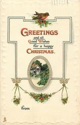 GREETINGS AND ALL GOOD WISHES FOR A HAPPY CHRISTMAS  cottage inset; robin