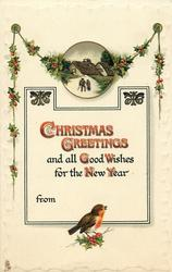 CHRISTMAS GREETINGS AND ALL GOOD WISHES FOR THE NEW YEAR  inset old man & woman walk away, cottage behind