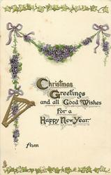 CHRISTMAS GREETINGS AND ALL GOOD WISHES FOR A HAPPY NEW YEAR  violets