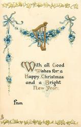 WITH ALL GOOD WISHES FOR A HAPPY CHRISTMAS AND A BRIGHT NEW YEAR  forget-me-nots