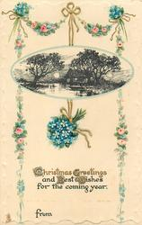 CHRISTMAS GREETINGS AND BEST WISHES FOR THE COMING YEAR  night scene, forget-me-nots in basket