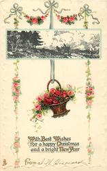 WITH BEST WISHES FOR A HAPPY CHRISTMAS AND BRIGHT NEW YEAR  FROM  horsedrawn, roses in basket