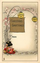 CHRISTMAS GREETINGS  two seated Japanese children, lanterns