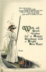 WITH ALL GOOD WISHES FOR A HAPPY CHRISTMAS AND A BRIGHT NEW YEAR  girl punts