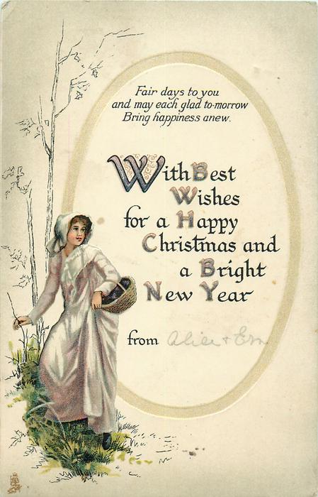 WITH BEST WISHES FOR A HAPPY CHRISTMAS AND A BRIGHT NEW YEAR  girl with basket