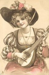 woman plays mandolin