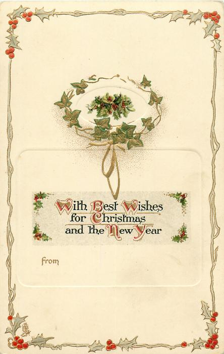 WITH BEST WISHES FOR CHRISTMAS AND THE NEW YEAR  ivy wreath