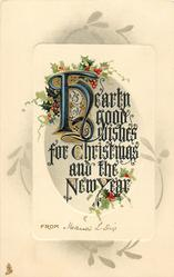 HEARTY GOOD WISHES FOR CHRISTMAS AND THE NEW YEAR